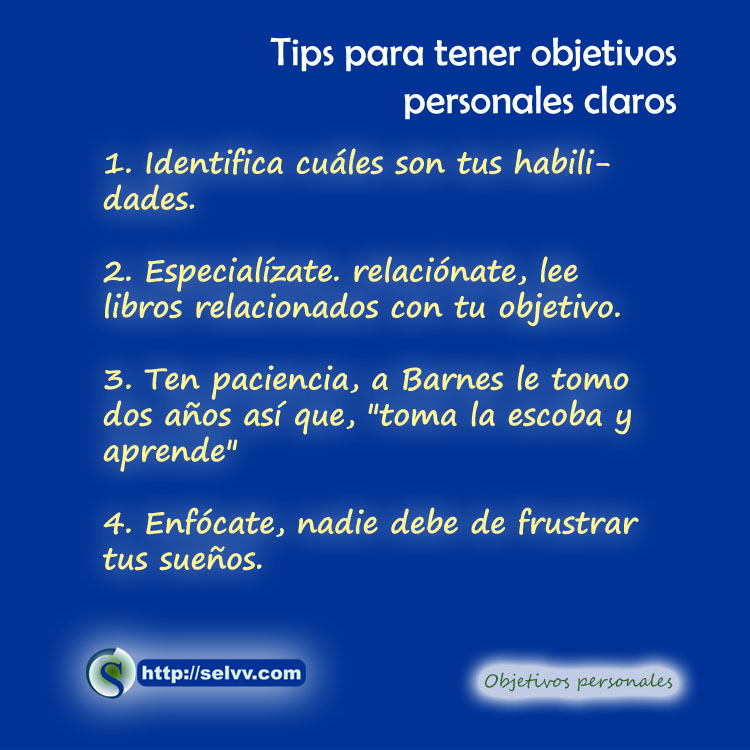 Tips - objetivos personales - Selvv
